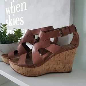 Nine West Brown strappy wedge sandals